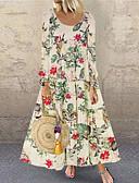 hesapli Büyük Beden Elbiseleri-Kadın's Pamuklu Kombinezon Elbise - Çiçekli Maksi