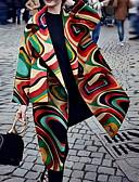 זול תכשיטים אופנתיים-בגדי ריקוד נשים יומי ארוך מעיל, גיאומטרי דש קלאסי שרוול ארוך פוליאסטר קשת