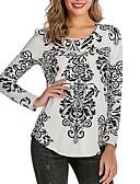 hesapli Tişört-Kadın's Tişört Kırk Yama / Desen, Zıt Renkli Sokak Şıklığı Siyah / Beyaz Siyah
