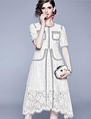 billige Romantiske blonder-Dame Grunnleggende Chinoiserie A-linje Swing Kjole - Fargeblokk, Lapper Trykt mønster Knelang