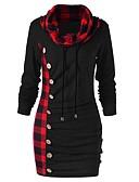hesapli Kadın Elbiseleri-Kadın's Temel Bandaj Elbise - Zıt Renkli Kareli, Bağcık Kırk Yama Diz üstü Siyah & Kırmızı