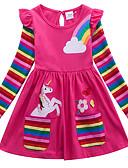 זול שמלות לבנות-שמלה מעל הברך שרוול ארוך דפוס גיאומטרי / חיה פעיל בנות ילדים