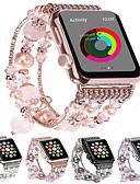 hesapli Mini Elbiseler-Moda apple watch band için kordonlu saat 44mm / 40mm / 38mm / 42mm bling kadınlar akik boncuk kayış bilezik band apple izle serisi için 4/3/2/1