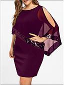 halpa Pluskokoiset mekot-Naisten Pluskoko Perus Löysä T Paita Mekko - Yhtenäinen, Paljetti Patchwork Reisipituinen