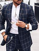 povoljno Muške polo majice-Muškarci odijela, Karirani uzorak Klasični rever Poliester Plava US36 / UK36 / EU44 / US38 / UK38 / EU46 / US40 / UK40 / EU48