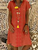 hesapli Mini Elbiseler-Kadın's Tişört Elbise - Geometrik Diz-boyu