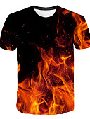 hesapli Erkek Tişörtleri ve Atletleri-Erkek Tişört Desen, Zıt Renkli / 3D / Grafik Sokak Şıklığı / Abartılı Fuşya