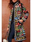 abordables robe grande taille-Femme Quotidien Basique Automne hiver Longue Manteau, Géométrique Mao Manches Longues Polyuréthane Vert