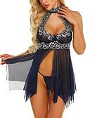 זול חלוקים & Sleepwear-בגדי ריקוד נשים סופר סקסי בייבידול וכותנות Nightwear תחרה / רשת, רקמה שחור יין ירוק בהיר S M L