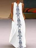 זול שמלות מקסי-מקסי דפוס, משובץ - שמלה גזרת A בוהו בגדי ריקוד נשים