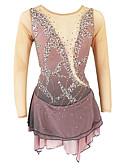 povoljno Klizačke haljine-Haljina za klizanje Žene Djevojčice Korcsolyázás Haljine Žutomrk Open Back Spandex Visoka elastičnost Trening Odjeća za klizanje Jednobojni Klasika Crystal / Rhinestone Dugih rukava Klizanje na ledu