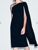 זול שמלות קוקטייל-מעטפת \ עמוד עם תכשיטים באורך  הברך שיפון מסיבת קוקטייל שמלה עם תחרה משולבת על ידי LAN TING Express / אשליה