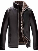 cheap Men's Jackets & Coats-Men's Daily Regular Leather Jacket, Solid Colored Stand Long Sleeve PU Black / Brown