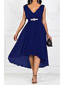 hesapli NYE Elbiseleri-Kadın's Parti A Şekilli Elbise - Solid V Yaka Maksi