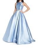 povoljno Večernje haljine-A-kroj Ovalni izrez Jako kratki šlep Saten Prom Haljina s Perlica po LAN TING Express