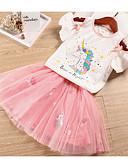זול שמלות לבנות-סט של בגדים שרוולים קצרים אנימציה Unicorn בסיסי בנות ילדים
