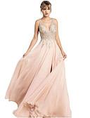 זול שמלות ערב-גזרת A צלילה שובל סוויפ \ בראש שיפון ערב רישמי שמלה עם תחרה משולבת על ידי LAN TING Express