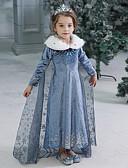 זול שמלות לבנות-שמלה מקסי שרוול ארוך אחיד / חג ליל כל הקדושים פעיל / מתוק בנות ילדים / פעוטות