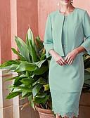 povoljno Maxi haljine-Dvodijelni kroj Ovalni izrez Do koljena Šifon / Čipka Haljina za majku mladenke s Kristalni detalji / Traka / vrpca / Nabori po LAN TING Express / Wrap Included