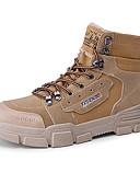 billige Skjorter til damer-Herre Fashion Boots Lerret / Mikrofiber Høst vinter Klassisk Støvler Skli Ankelstøvler Svart / Lysebrun / Grå