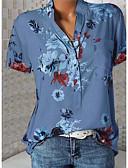 זול חולצה-פרחוני צווארון V רזה מידות גדולות חולצה - בגדי ריקוד נשים לבן