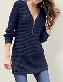 povoljno Ženski džemperi-Žene Jednobojni Dugih rukava Pullover, Duboki V Crn / Obala / Red S / M / L