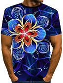 hesapli Erkek Tişörtleri ve Atletleri-Erkek Tişört Desen, Çiçekli / Zıt Renkli / 3D Sokak Şıklığı / Abartılı Gökküşağı