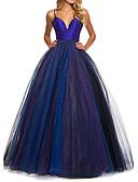 זול שמלות ערב-נשף רצועות ספגטי עד הריצפה טול גב פתוח נשף רקודים שמלה עם קפלים על ידי LAN TING Express