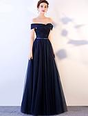 זול שמלות ערב-גזרת A סירה מתחת לכתפיים עד הריצפה טפטה / טול נשף רקודים שמלה עם סרט על ידי LAN TING Express