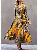 billige Kjoler i plusstørrelser-Dame Swing Kjole - Geometrisk, Trykt mønster Maksi
