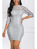 זול שמלות מודפסות-מיני תחרה, אחיד - שמלה צינור נדן רזה מידות גדולות אלגנטית בגדי ריקוד נשים