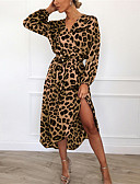 billige Bluser-Dame Gatemote Skjede Kjole - Leopard, Trykt mønster Midi Fantastiske dyr