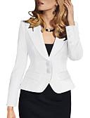 billige Bluser-Dame Blazer, Ensfarget Skjortekrage / Hakkjakkeslag Polyester / Spandex Svart / Hvit / Blå