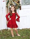 povoljno Haljine za djevojčice-Djeca Dijete koje je tek prohodalo Djevojčice Aktivan slatko Jednobojni Čipka Dugih rukava Do koljena Haljina Red