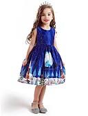 povoljno Haljine za djevojčice-Djeca Djevojčice Aktivan slatko Djed Mraz Božić Print Bez rukávů Do koljena Haljina Plava