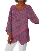 זול שמלות ערב-קולור בלוק צווארון V בסיסי מידות גדולות טישרט - בגדי ריקוד נשים אודם