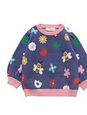 お買い得  女児 セーター&カーディガン-幼児 女の子 ベーシック 幾何学模様 プリント 長袖 セーター&カーデガン パープル