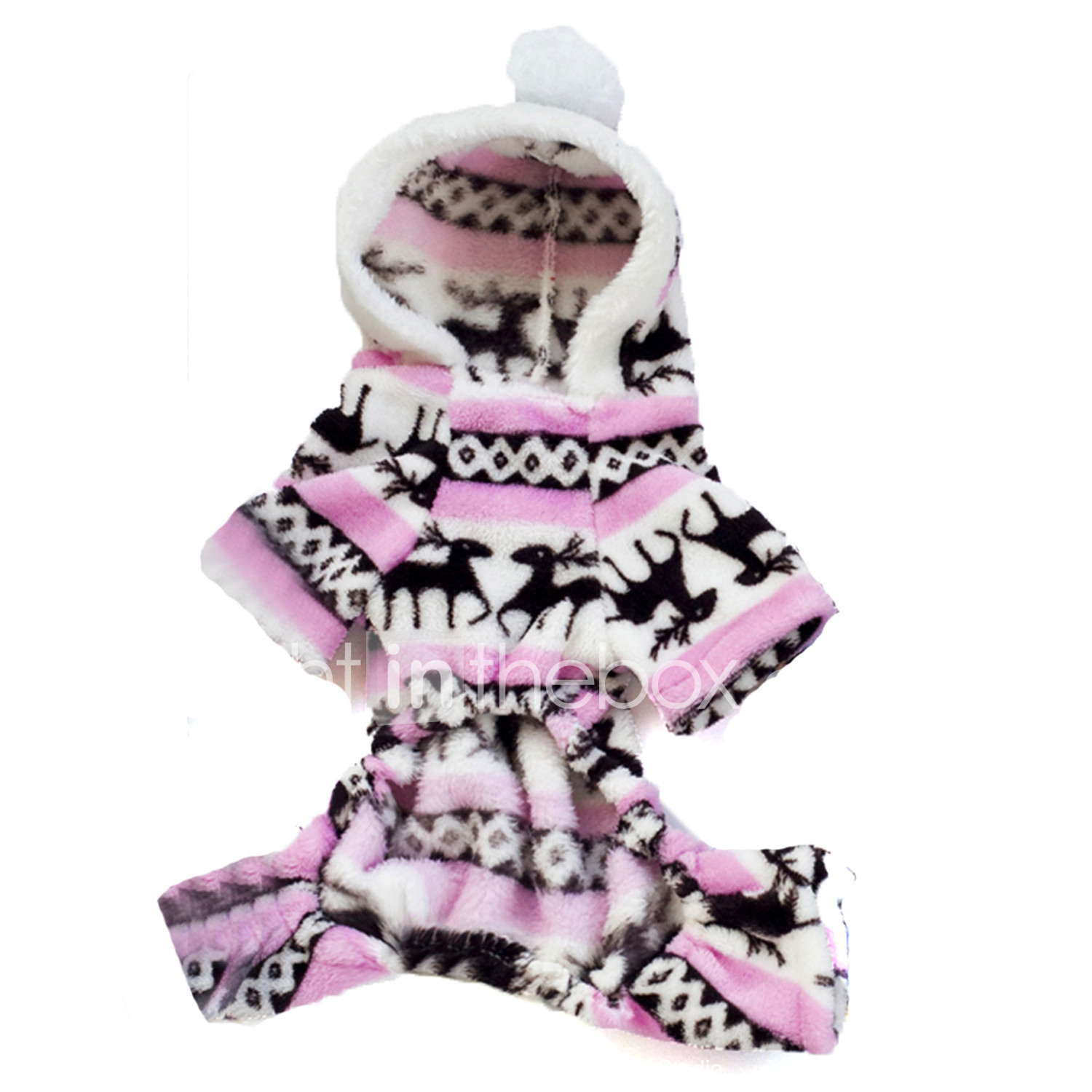 cat dog hoodie jumpsuit pajamas dog clothes reindeer brown blue pink