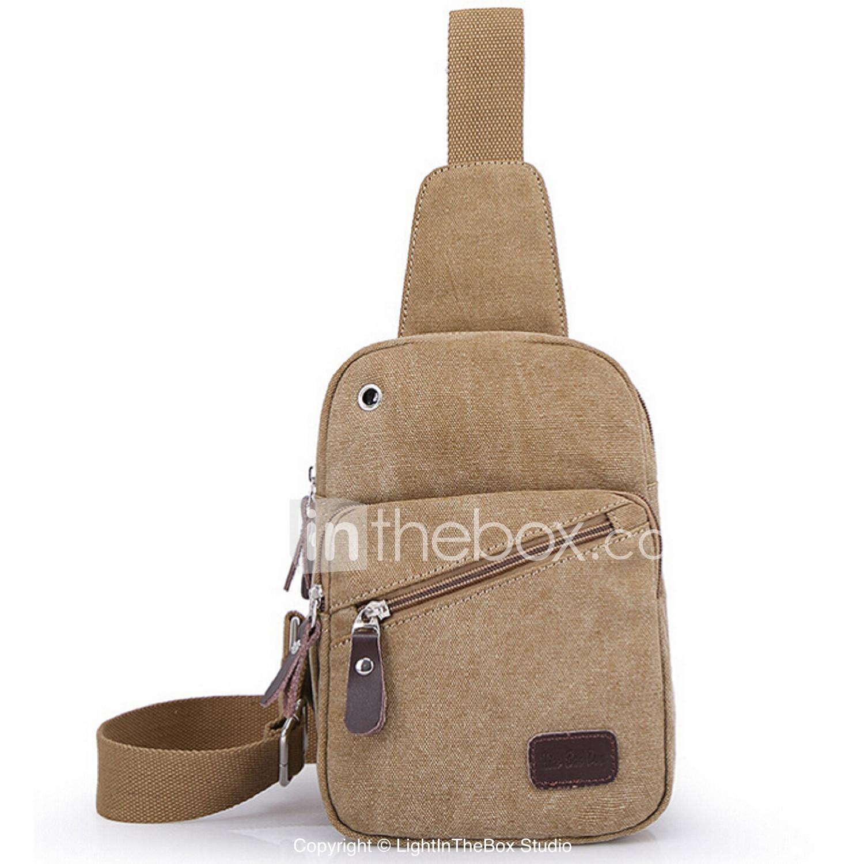 Men Sling Shoulder Bags Canvas Outdoor Black Coffee Khaki #05238281