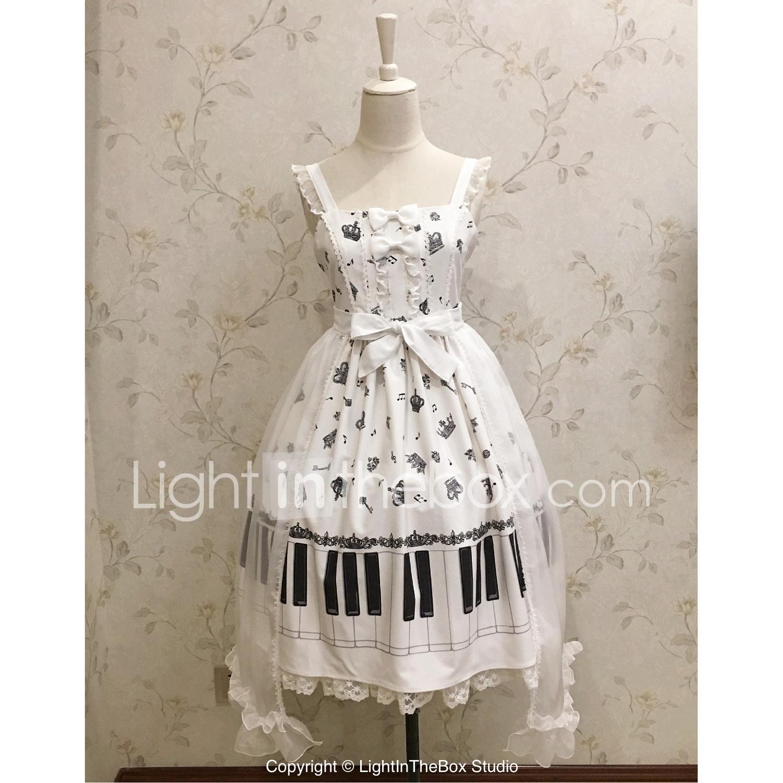 623f9fe753c5 Sweet Lolita Dress Casual Lolita Dress Shiro  Kuro Lolita Rococo Lace  Female Dress JSK   Jumper Skirt Cosplay White Sleeveless Sleeveless Knee  Length ...