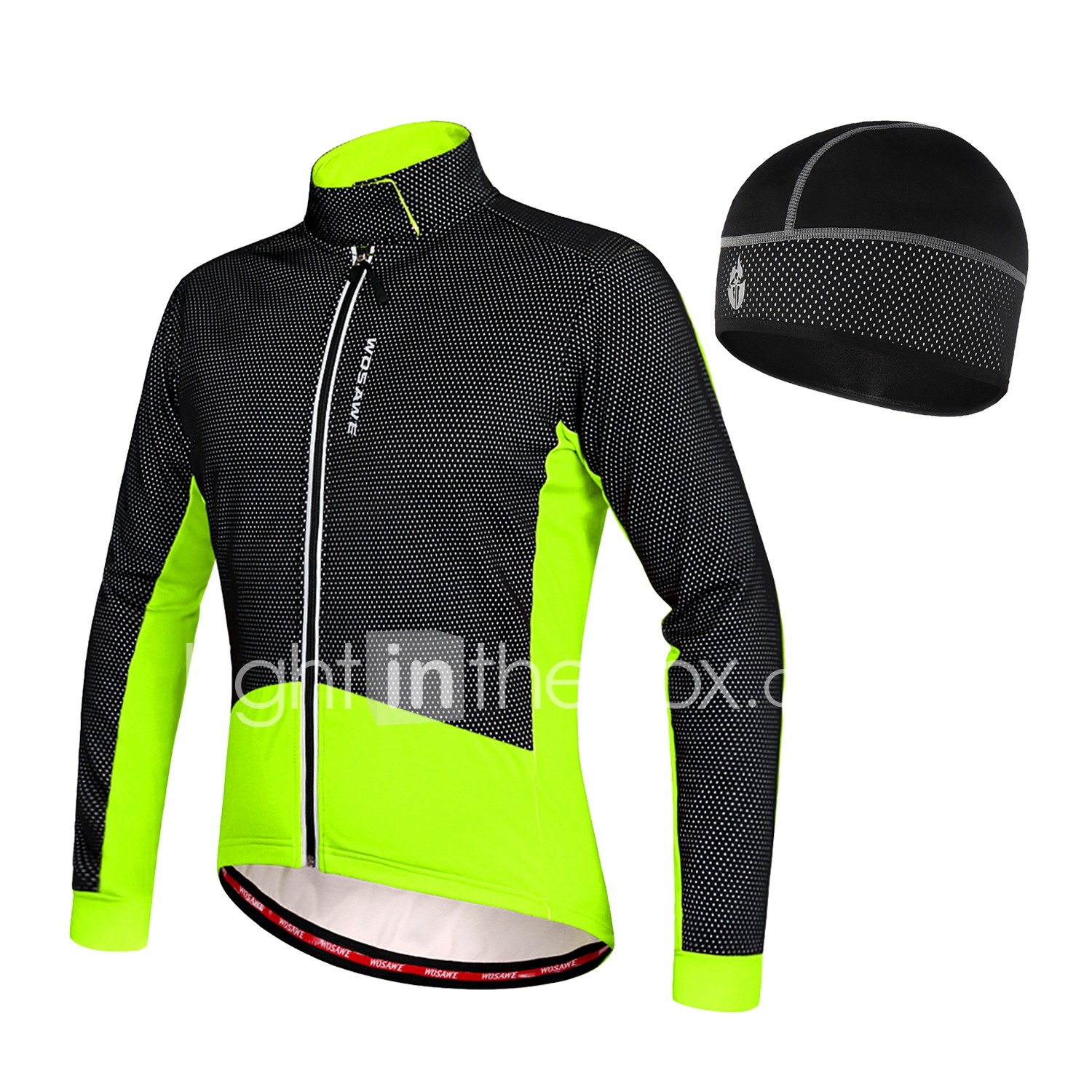 WOSAWE Men s Cycling Jacket Bike Winter Fleece Jacket Jersey Hat Thermal    Warm Fleece Lining Sports 291674341