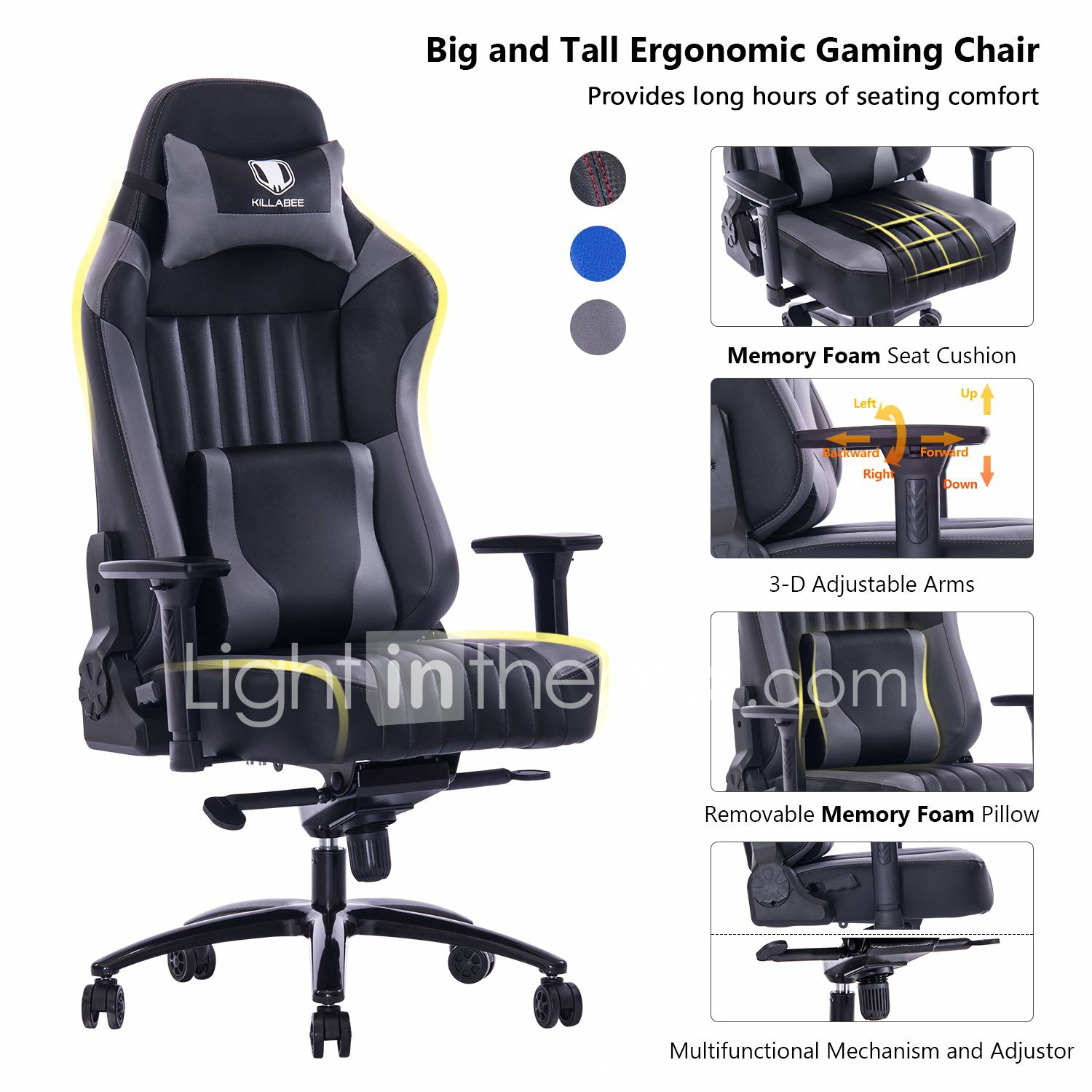 Marvelous Killabee Big And Tall 400Lb Memory Foam Gaming Chair Metal Theyellowbook Wood Chair Design Ideas Theyellowbookinfo