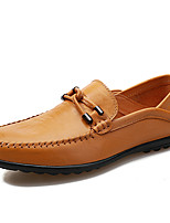 Shoes Men's Loafers & Slip-Ons Comfort Light Soles Spring Fall Leather Casual Outdoor Magic Tape Flat Heel Black (Color : Brown Size : 42)