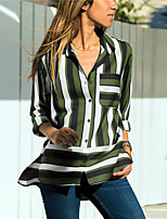 6f6dd613685 Χαμηλού Κόστους Γυναικείες Μπλούζες-Γυναικεία Πουκάμισο Ριγέ Κολάρο  Πουκαμίσου Πράσινο του τριφυλλιού XL