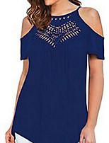 abordables Tops y conjuntos de mujeres-Mujer Básico Retazos Camiseta Un  Color   Geométrico 5fdc462d04cba