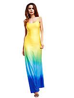 5648bec3ab85 Χαμηλού Κόστους Μακριά Φορέματα-Γυναικεία Βασικό Θήκη Φόρεμα - Συνδυασμός  Χρωμάτων Μακρύ