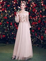 87611009b00 Недорогие Платья для подружек невесты-А-силуэт С открытыми плечами В пол  Тюль Платье