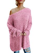 e386d87a39 olcso Női pulóverek-Női Egyszínű Hosszú ujj Pulóver, Félvállas Arcpír  rózsaszín XXL