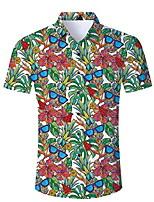 471e14dbc2 baratos Camisas Masculinas-Homens Camisa Social Floral Verde L / Manga Curta