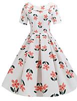 Χαμηλού Κόστους -Γυναικεία Κομψό στυλ street Swing Φόρεμα - Φλοράλ, Στάμπα Ως το Γόνατο